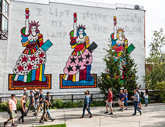 Let's Make America American Again (UrbanphotoZ) Tags: mural highline statueofliberty ladyliberty iliftmylampbesidethegoldendoor urbanart pedestrians letsmakeamericaamericanagain teardrop wall chelsea manhattan newyorkcity newyork nyc ny