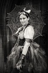 Portrait from Lincoln's Asylum X Steampunk Festival (Gordon.A) Tags: lincolnshire lincoln bailgate asylum x asylumx steam punk steampunk weekend convivial lincolnasylum lincolnasylumsteampunk festival festiwal festivaali festivalen festspiele alternative culture subculture victorian neovictorian fashion costume creative lifestyle lady woman face parasol people event eventphotography amateur street photography day daylight outdoor outdoors outside town city urban door doorway pose posed posing naturallight portrait mono monochrome monochromatic monotone blackandwhite bnw bw digital canon eos 750d