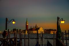San Giorgio Maggiore. Blue Hour. (bodro) Tags: italy sangiorgiomaggiore venice bluehour church colorpalette gondolas streetlights sunset water yellow