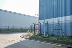 Eastern Avenue / Motherwell Way (Crusty Streets) Tags: eastern avenue motherwell way england uk warehousing cctv fence blue
