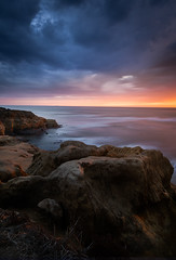 Sunset Cliffs (Talha Najeeb) Tags: san diego california color sky coulds drama mood light pacific clouds ocean water motion flaming