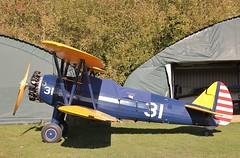 G-KAYD -  Boeing Stearman Kaydet A75N1 at Enstone,Oxon (Bob Symes) Tags: biplane gkayd pt17 a75n1 kaydet stearman 31 enstone