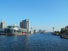 Salford Quays (ste dee) Tags: salfordquays england bridge manchestershipcanal bluewater panasonic waterscape fz72