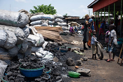 Charcoal sales - Market at the ferry terminal - Entebbe (JohnMawer) Tags: entebbe market charcoal