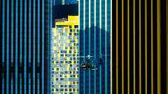vertical (m_laRs_k) Tags: hss yellow blue helicopter flight 169 olympus omd 14150 manhattan nyc ny usa eurocopter