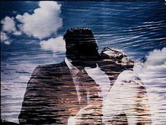 Bride and groom from wedding - double exposure analog film art photographer Madrid Spain