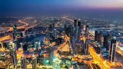 Downtown Dubai (talv_ss) Tags: dubai burjkhalifa downtown uae middleeast viewfromabove observationdeck sony sonya7riii travelphotography lighttrails travel longexposure cityscape citylife citylights buildings hotels a7riii bluehour urban
