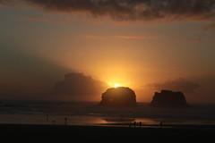 Rockaway Beach (Tony Pulokas) Tags: oregon summer beach ocean pacificocean sunset seastack twinrocks arch naturalarch sun people sand surf bird gull rockawaybeach twinrocksbeach
