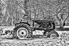 Winter is Coming (stephaneblaisphoto) Tags: agricultural equipment machinery agriculture bare tree day field land vehicle landscape mode transportation nature no people outdoors plant snow tractor wheel winter bw blackandwhite monochrome