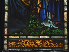 Detail of the Dedication Panel in the John McAllister Vincent Memorial Stained Glass Window; Christ Church, Brunswick - Glenlyon Road, Brunswick (raaen99) Tags: deco artdeco decostainedglass artdecostainedglass brooksrobinsonandcompany brooksrobinsoncompany brooksrobinsonstainedglass brooksrobinsoncompanystainedglass brooksrobinsonandcompanystainedglass stainedglass 20thcenturystainedglass twentiethcenturystainedglass 1952 1950s postwar postwarartdeco christchurch christchurchbrunswick christchurchofengland christchurchanglican churchofengland anglicanchurch anglican brunswickchurch brunswick glenlyonroad glenlyonrd church placeofworship religion religiousbuilding religious melbourne victoria australia architecture building window lancet lancetwindow biblical bible resurrection resurrectionofjesus theresurrection jesus malesaint holyspirit johnmcallistervincentmemorialstainedglasswindow johnmcallistervincent worldwariimemorial secondworldwarmemorial memorial memorialstainedglasswindow jesujoyofmansdesiring