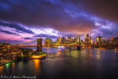 Brooklyn Bridge Skyline Twilight (ericjmalave) Tags: 1855 cityscape fujix fujixf1855 fujixt10 landmarks longexposure newyorkcity nightlights nyc samyang12mm twilight brooklynbridge manhattanbridge cartrail sunset