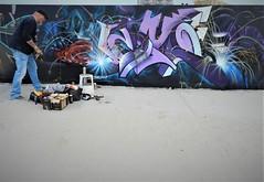 Artist at work (JoséDay) Tags: thehaguestreetart atwork pieceonthewall graffitiproject streetart artistatwork graffiti art kunst airbrush meeting onthebeach