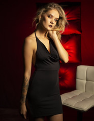 Mikayla (austinspace) Tags: woman portrait spokane washington blond blonde studio red black dress wtf magazine