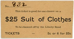 Ticket for a Chance on a $25 Suit of Clothes (Alan Mays) Tags: ephemera tickets raffletickets raffles chances paper printed clothes clothing suits suitofclothes 25suitofclothes liberty libertyband bands music musicians fillintheblanks middletown pa dauphincounty pennsylvania antique old vintage typefaces type typography fonts