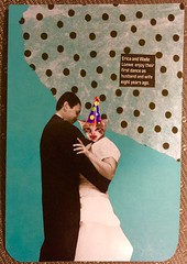 Happily ever after (witt0071) Tags: postcard swapbot mailart collage tissue magazine headswap cat party hat
