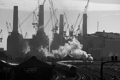 Steaming Past Battersea (McTumshie) Tags: 105t 20181020 35028 batterseapowerstation belmondbritishpullman clanline london chimney locomotive railway steam train londonist