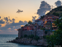 Amasra (✦ Erdinc Ulas Photography ✦) Tags: lenstagger amasra turkey turkish turkiye summer landscape sunset houses clouds view water sea canonfd50mmf14 canon travel wall stones sun coast light rocks panasonic tree red yellow green street village shadow