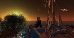 Sunset (♥Tia♥) Tags: secondlife sunset sea sl man woman blonde couple portrait windmill seagull bird