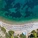 Aerial view of Nikolaos Beach Hydra, Greece