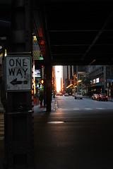 One Way (mstrellish) Tags: oneway chicago il illinois citystreets citylife city street streetsign crosswalk