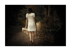 Path of Shadows (trailie) Tags: girl woods forest darkness scary death axe mysterious dress barefeet whitedress