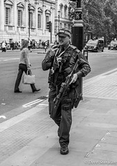 Armed and Dangerous (daveseargeant) Tags: police armed guns london monochrome street nikon df 50mm 18g