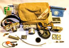 What's in my Camera Bag (Neal3K) Tags: domkef5xb 10wx45dx7hnikon s3 35mm film cameraolympus xa4fuji x100s dual spectrumemergency kit