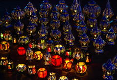 Colourful lamps, Marrakech (Bokeh & Travel) Tags: lamps colorful colours marrakech marocco afri africa kingdomofmorocco light lights red blue warm cold market