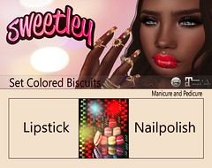 Sweetley - Set Colored Biscuits add (Sweetley SL) Tags: sweetley catwa maitreya nailapplier hud lipstick makeup beauty cosmetics sl secondlife mesh avatar bento new colored biscuits art partynails set copyrighted original design mainstore marketplace