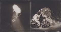 Lava Beds Diptych (H Polley) Tags: polaroidweek roidweek polaroid sx70 silvershade impossibleproject expiredfilm blackandwhite lavabeds cave lavetube
