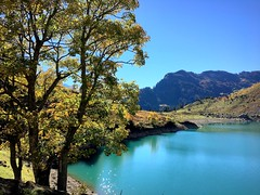 Alpine lake (PeterCH51) Tags: switzerland oberblegisee braunwald glarus cantonofglarus alps alpen swissalps autumn colours autumncolours autumncolors nature hiking lake alpinelake water landscape scenery alpinelandscape alpinescenery swisslandscape swissscenery beautifulview iphone peterch51 mountains