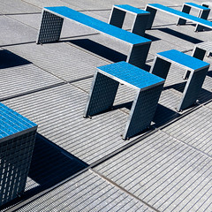 roof abstract (morbs06) Tags: eunyoungyi mailänderplatz stadtbibliothek stuttgart abstract architecture blue building city colour geometry grey library light lines metalgrille repetition roof shadow square stripes texture