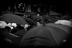Umbrellas (MortenTellefsen) Tags: umbrella umbrellas paraplyer norway norwegian norge hotel konsert monochrome blackandwhite bw blackandwhiteonly black man bergen