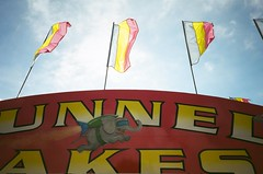 "Funnel Cakes (dreamscapesxx) Tags: ""funnelcake"" ""rocketelephant"" olympusxa1 ""safeway200film"" pointandshoot 35mm analog sign flags atthefair ""mecostacountyfair"" ""bigrapidsmi"""