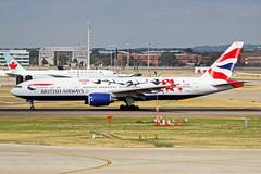 G-YMML 2 Boeing 777-236ER British Airways (Shanghai special livery) LHR 09SEP18 (Ken Fielding) Tags: gymml boeing b777236er britishairways aircraft airplane airliner jet jetliner widebody