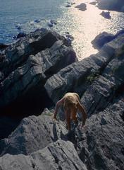 A steep climb from the sea, Cornwall 1990 (jonathan charles photo) Tags: nude naked climb art photo jonathan charles cornwall shore
