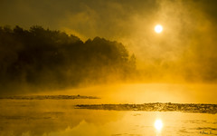 Today's sunrise at the Brzeziniak pond (mirosławkról) Tags: poland landscape tree pond silesia orange sky clouds sunset water fog sunrise sun autumn plant