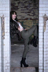 Chayla in khaki (Waving lights in the dark) Tags: model ukmodel brunette bum boots legs khaki photoshoot urbex abandoned abandonedplaces abandonedjunkies 85mm