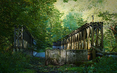A93 Old Road, Metal Bridge (ShinyPhotoScotland) Tags: art photography equipment camera lens places scotland perthshire light sunlight landscape emotion nature rawconversion manipulated composite hdr brightsunlight dramatic digikam toned colour projects contrasts people transport affection zen anthropocene road intimatelandscape mankindnature rawtherapee lightanddark flora trees darktable naturehappens timefulness vintage abandoned decay imagemagickmedian tarmac fuji fujixt20 fuji18135mm oldroad blairgowrie craighallgorge a93craighallgorge