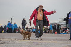 Jean-Luc arrives with his dog (8mm & Other Stuff) Tags: jeanluc canon dog newbrighton liverpoolgiants