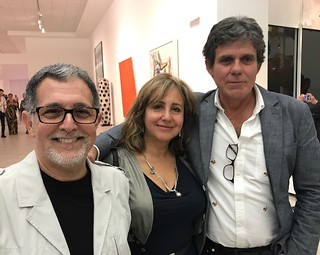 Artist Mario Bencomo with Adriana Herrera and Willy Castellanos  at the Lowe Museum Cintas awards presentation