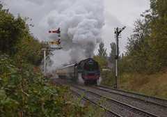 BR Standard 9F No. 92214 accelerates away from Loughborough with the 103.0 service to Leicester North. Great Central Railway Autumn Steam Gala 06 10 2018 (pnb511) Tags: greatcentralrailway trains railway locomotives loco steam locomotive locos engine smoke power track semaphore signal gantry