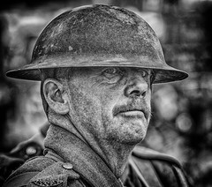 Soldier of the First World War (Andy J Newman) Tags: ww1 portrait nikon reenactment 50thanniversary d500 steamfair steam dorset blandford silverefex candid army veteran monochrome soldier blackandwhite gdsf firstworldwar blandfordcamp england unitedkingdom gb