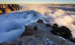 The best way to pay for a lovely moment is to enjoy it… (ferpectshotz) Tags: grandcanyon nationalpark arizona yakipoint sunrise desert sonoran colorado mojave perfectinversion clouds cloudfilledcanyon southrim outdoor outside