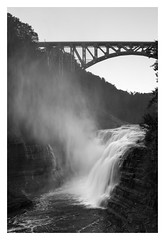 Upper Falls Mist (bprice0715) Tags: canon canoneos5dmarkiii canon5dmarkiii landscape landscapephotography nature naturephotography beautiful beauty beautyinnature blackandwhite bw blackwhite monochrome mono highcontrast contrast letchworthstatepark waterfall bridge fineart moody dramatic upperfalls
