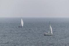 El mar y el cielo se ven igual de azules ... y en la distancia parece que se unen .... (ninestad) Tags: mar sea velero barco boat sailboat cielo blues sky heaven galicia lugo spain