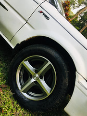 New Rims on Toyota EE90 (mohammed_apu) Tags: toyota corolla ee90 rims rim tire trd jdm japanese project rusty white ae91 ae92 bangladesh car restored