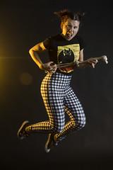 Day 4252 (evaxebra) Tags: ewa jump wh wah blackmilk leggings plaid rock rawk skeleton arm guitar toothless dragon tshirt shirt tee black
