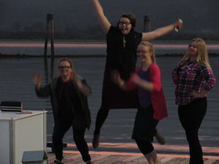 Jump! (jamica1) Tags: sunset twilight salmon arm shuswap pier bc british columbia canada girls women group foursome jumping fun selfie