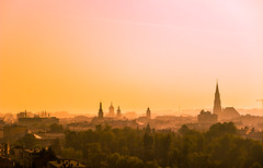 Cluj in the morning (Pan.Ioan) Tags: city cityscape citylife urban morning sunrise sky orange silhouette travel tourism history spire beautiful
